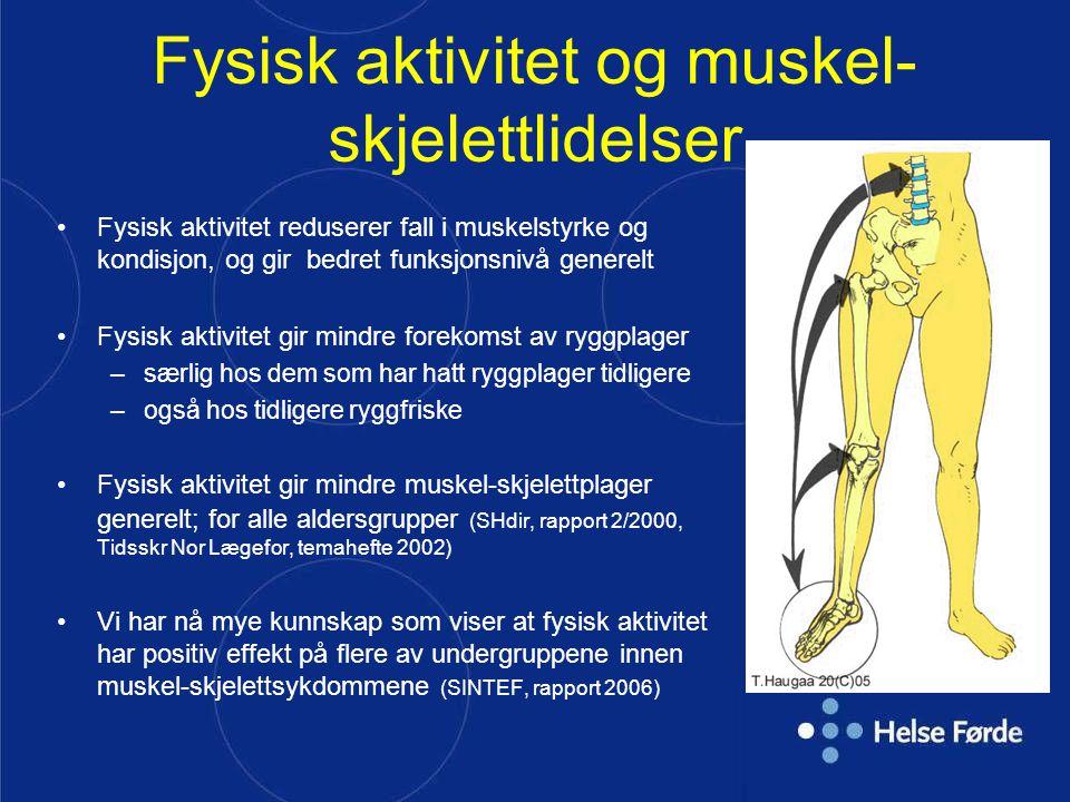 Fysisk aktivitet og muskel- skjelettlidelser Fysisk aktivitet reduserer fall i muskelstyrke og kondisjon, og gir bedret funksjonsnivå generelt Fysisk