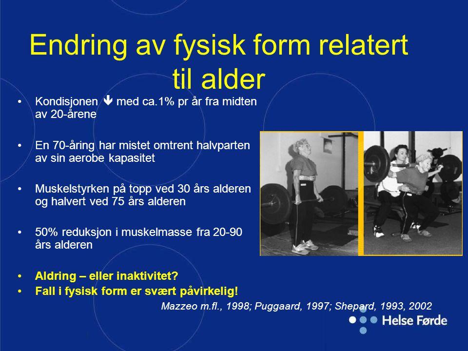 | Endring av fysisk form relatert til alder Kondisjonen  med ca.1% pr år fra midten av 20-årene En 70-åring har mistet omtrent halvparten av sin aero