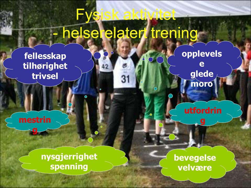 Fysisk aktivitet - helserelatert trening opplevels e glede moro fellesskap tilhørighet trivsel nysgjerrighet spenning bevegelse velvære mestrin g utfo