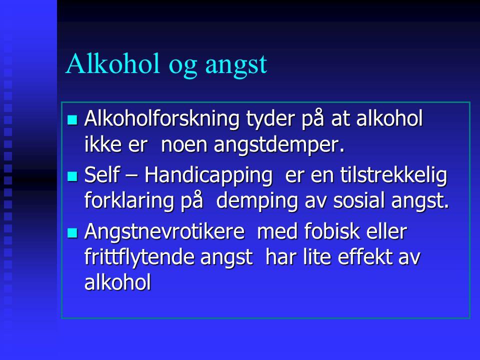 Alkohol og angst Alkoholforskning tyder på at alkohol ikke er noen angstdemper. Alkoholforskning tyder på at alkohol ikke er noen angstdemper. Self –