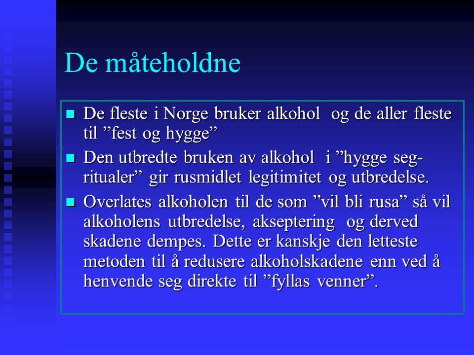 De måteholdne De fleste i Norge bruker alkohol og de aller fleste til fest og hygge De fleste i Norge bruker alkohol og de aller fleste til fest og hygge Den utbredte bruken av alkohol i hygge seg- ritualer gir rusmidlet legitimitet og utbredelse.