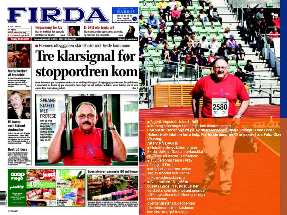 ■ Sigurd amputerte foten i 1964 ■ Trening seks dagar i veka fekk han tilbake i arbeid I AKSJON: Her er Sigurd på sjarmøretappen på Bislet Stadion i Os