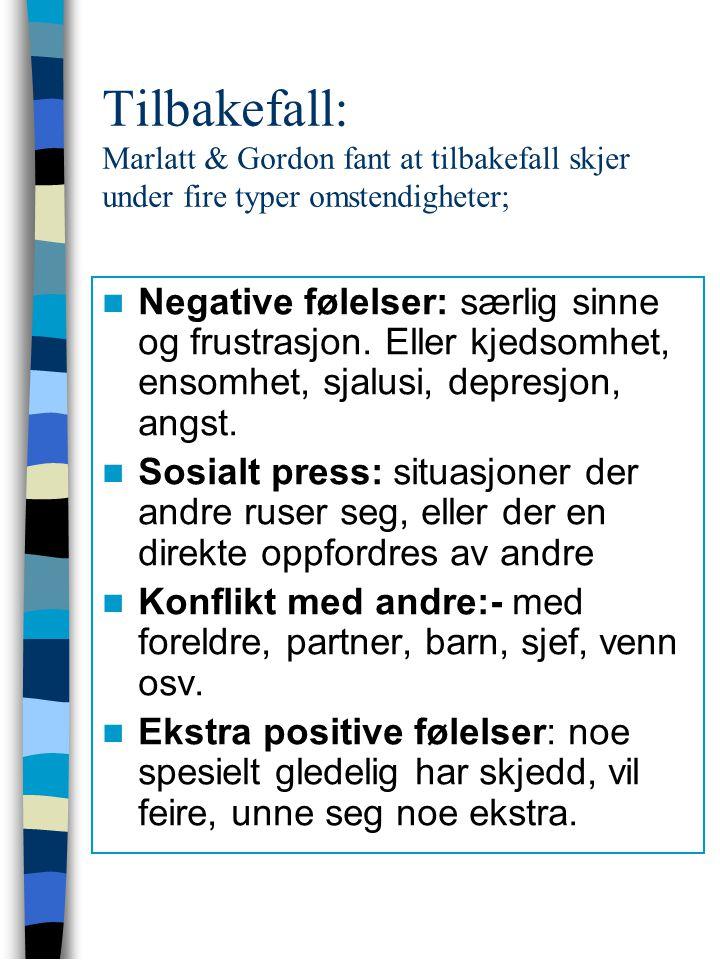 Tilbakefall: Marlatt & Gordon fant at tilbakefall skjer under fire typer omstendigheter; Negative følelser: særlig sinne og frustrasjon. Eller kjedsom