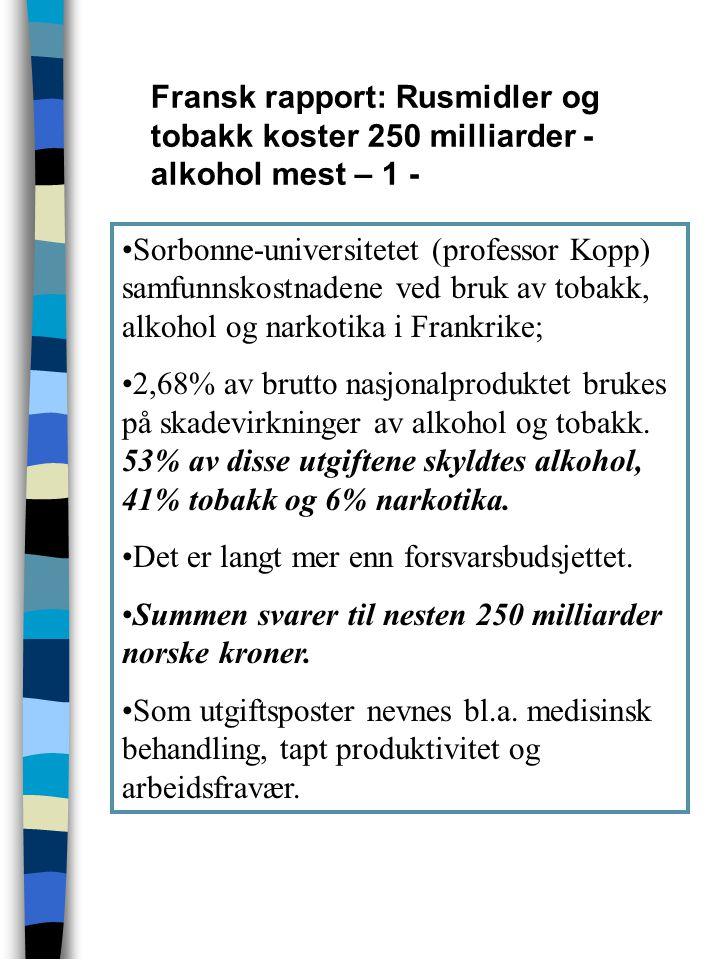 Sorbonne-universitetet (professor Kopp) samfunnskostnadene ved bruk av tobakk, alkohol og narkotika i Frankrike; 2,68% av brutto nasjonalproduktet bru