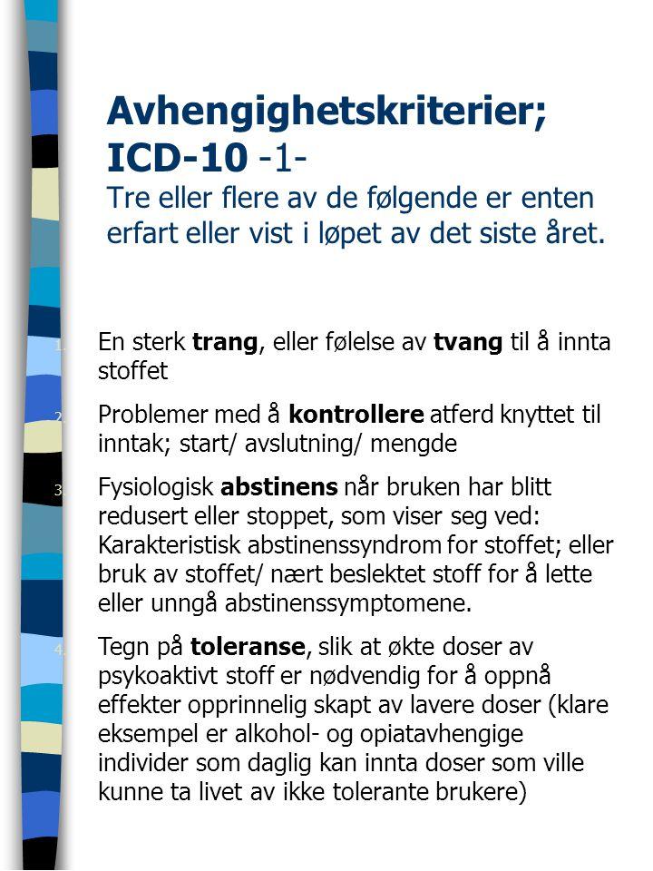 Avhengighetskriterier; ICD-10 -1- Tre eller flere av de følgende er enten erfart eller vist i løpet av det siste året. 1. En sterk trang, eller følels