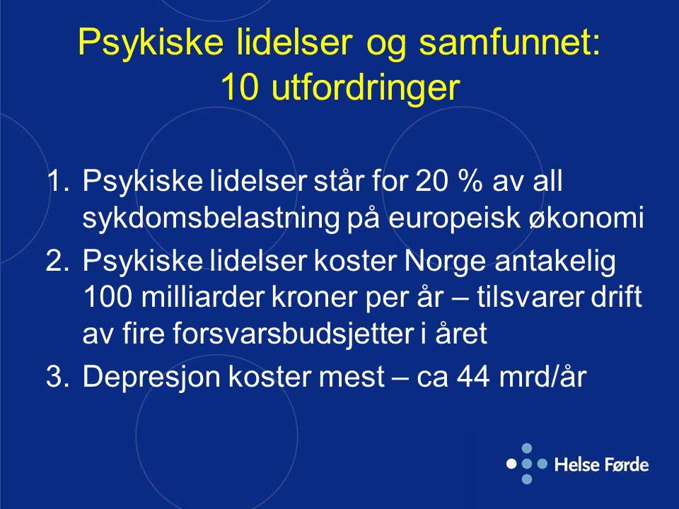 Psykiske lidelser og samfunnet: 10 utfordringer 1.Psykiske lidelser står for 20 % av all sykdomsbelastning på europeisk økonomi 2.Psykiske lidelser ko