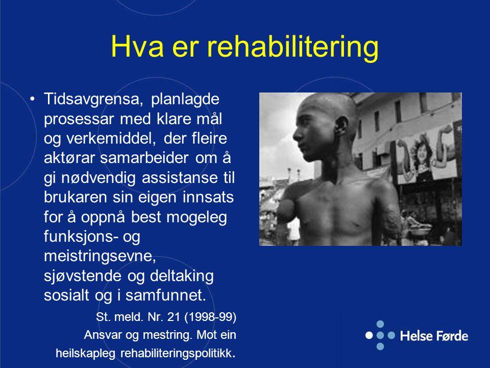 Hva er rehabilitering Tidsavgrensa, planlagde prosessar med klare mål og verkemiddel, der fleire aktørar samarbeider om å gi nødvendig assistanse til