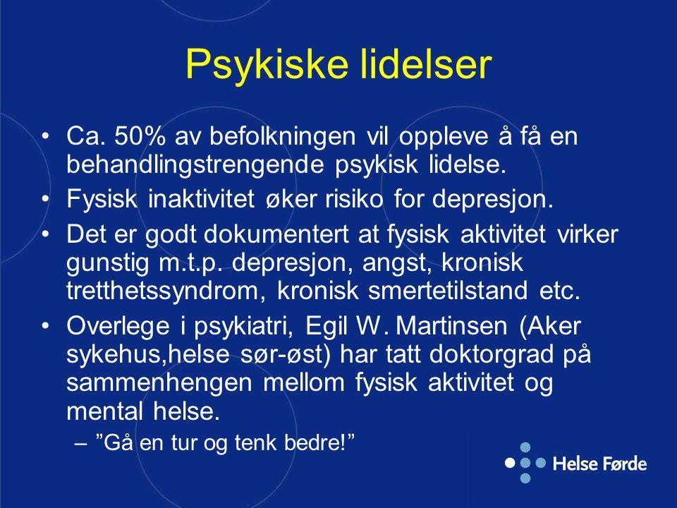Psykiske lidelser og samfunnet: 10 utfordringer 1.Psykiske lidelser står for 20 % av all sykdomsbelastning på europeisk økonomi 2.Psykiske lidelser koster Norge antakelig 100 milliarder kroner per år – tilsvarer drift av fire forsvarsbudsjetter i året 3.