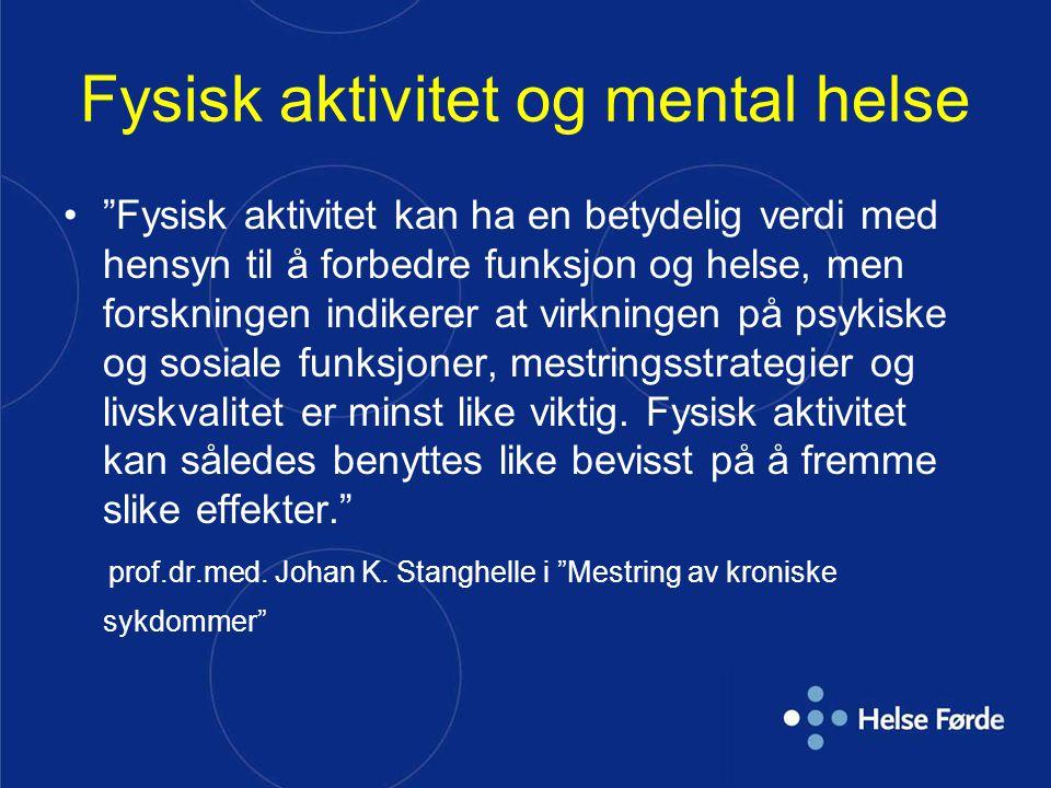 Psykiske lidelser står for 20 % av all sykdomsbelastning på europeisk økonomi Mer enn belastningen fra alle krefttyper til sammen 3 x belastningen fra alle lungesykdommer 3 x belastningen fra alt alkoholbruk Nær 4 x belastningen fra veitrafikkulykker 2,5 % av USAs BNP kommer fra psykisk lidelser Norge: Høyere.