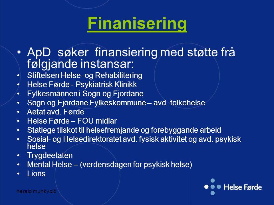 Finanisering ApD søker finansiering med støtte frå følgjande instansar: Stiftelsen Helse- og Rehabilitering Helse Førde - Psykiatrisk Klinikk Fylkesma