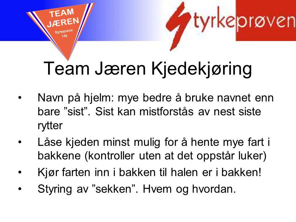 """Team Jæren Kjedekjøring Navn på hjelm: mye bedre å bruke navnet enn bare """"sist"""". Sist kan mistforstås av nest siste rytter Låse kjeden minst mulig for"""