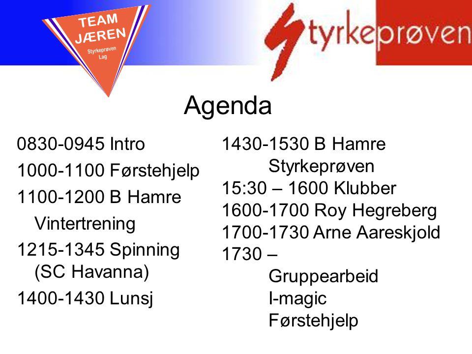 Agenda 0830-0945 Intro 1000-1100 Førstehjelp 1100-1200 B Hamre Vintertrening 1215-1345 Spinning (SC Havanna) 1400-1430 Lunsj 1430-1530 B Hamre Styrkep