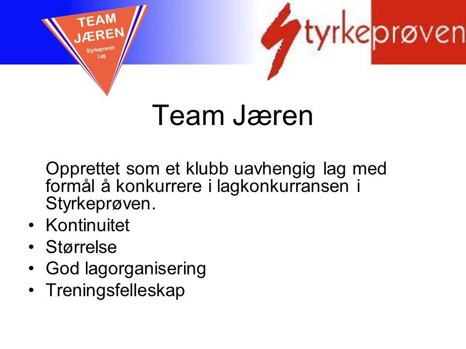Team Jæren Opprettet som et klubb uavhengig lag med formål å konkurrere i lagkonkurransen i Styrkeprøven. Kontinuitet Størrelse God lagorganisering Tr