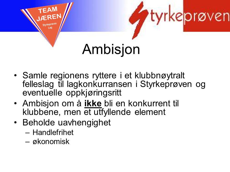 Ambisjon Samle regionens ryttere i et klubbnøytralt felleslag til lagkonkurransen i Styrkeprøven og eventuelle oppkjøringsritt Ambisjon om å ikke bli