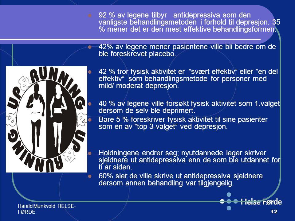 Harald Munkvold HELSE- FØRDE12 92 % av legene tilbyr antidepressiva som den vanligste behandlingsmetoden i forhold til depresjon. 35 % mener det er de