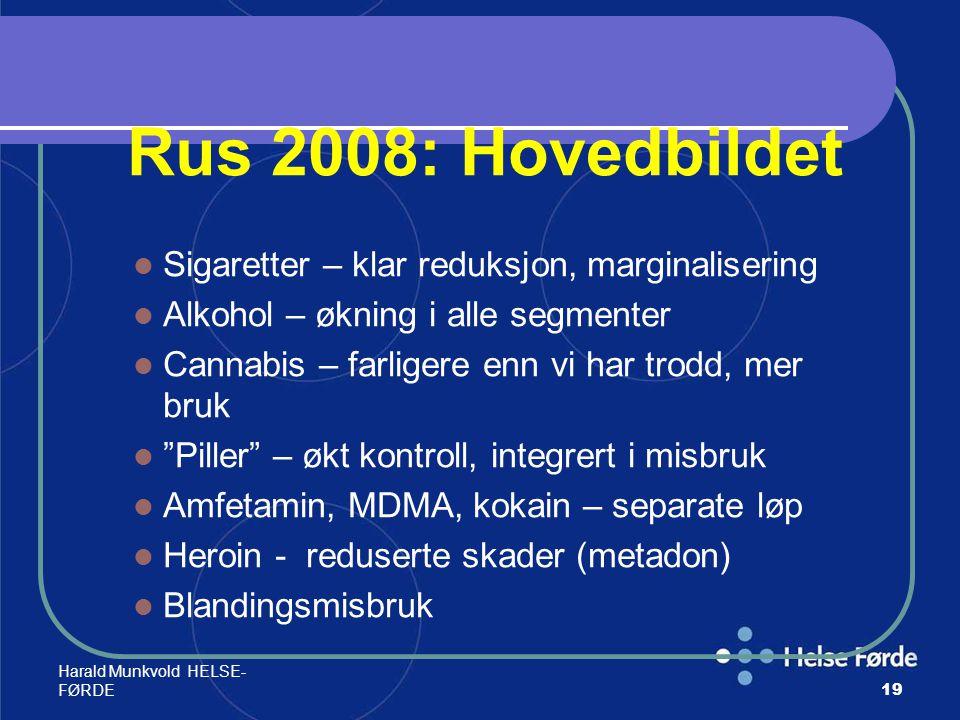 Harald Munkvold HELSE- FØRDE19 Rus 2008: Hovedbildet Sigaretter – klar reduksjon, marginalisering Alkohol – økning i alle segmenter Cannabis – farlige