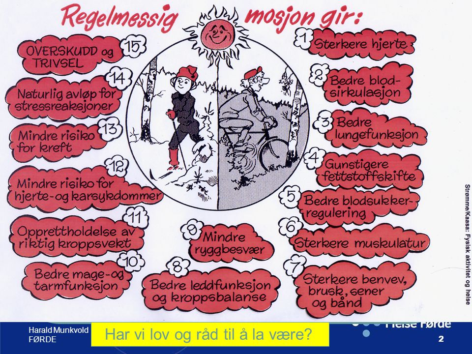 Harald Munkvold HELSE- FØRDE53 Motivasjon for fysisk aktivitet; Interesse,evner, gleder, behag Spenning, utfordring, Det å lykkes Glede for helsen, Det sosiale, møte andre Bedt av andre, Hell/ flaks, belønning stabil ustabil indreytre