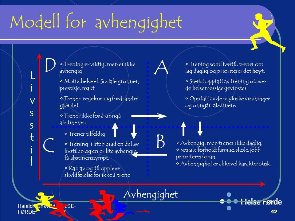 Harald Munkvold HELSE- FØRDE42 Modell for avhengighet B C D LivsstilLivsstil A Avhengighet Trening er viktig, men er ikke avhengig Motiv;helse el. Sos