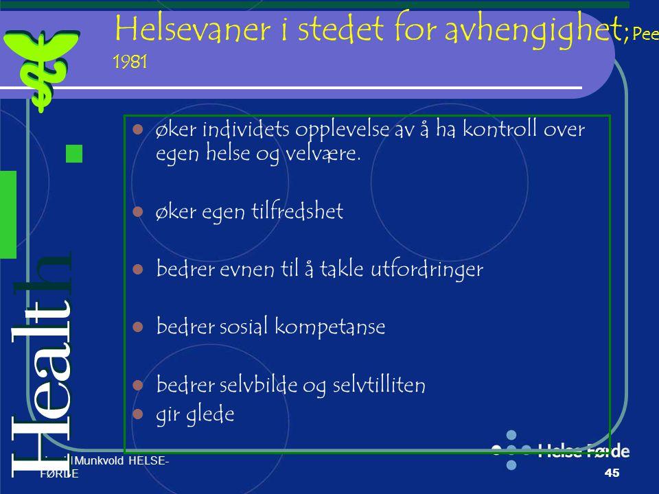 Harald Munkvold HELSE- FØRDE45 Helsevaner i stedet for avhengighet; Peele 1981 øker individets opplevelse av å ha kontroll over egen helse og velvære.