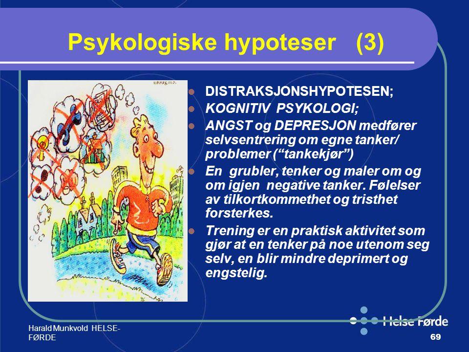 Harald Munkvold HELSE- FØRDE69 Psykologiske hypoteser (3) DISTRAKSJONSHYPOTESEN; KOGNITIV PSYKOLOGI; ANGST og DEPRESJON medfører selvsentrering om egn
