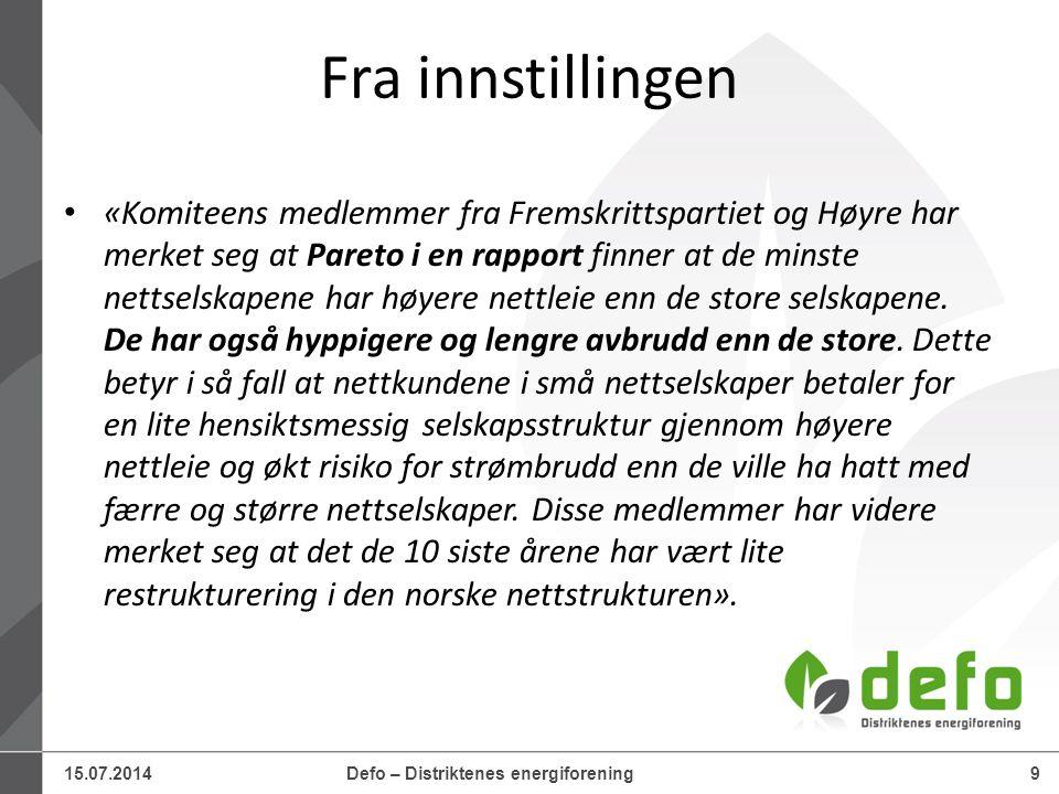 15.07.2014Defo – Distriktenes energiforening30 Utviklingen av inntektsrammene (1)