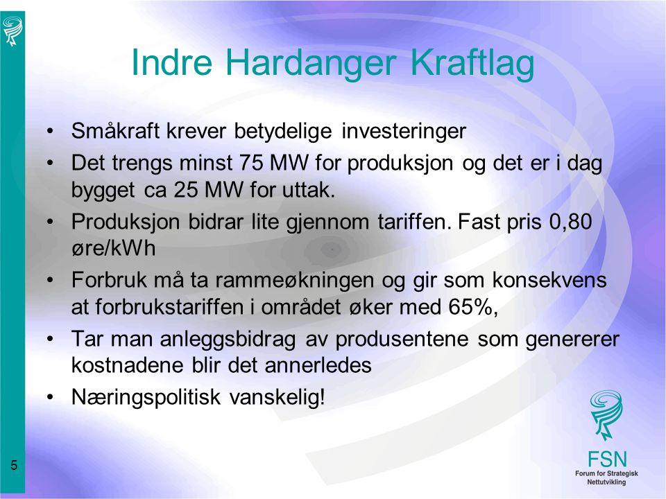 5 Indre Hardanger Kraftlag Småkraft krever betydelige investeringer Det trengs minst 75 MW for produksjon og det er i dag bygget ca 25 MW for uttak.