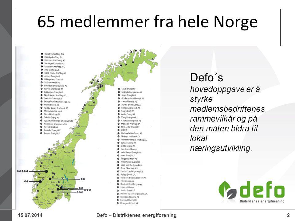 15.07.2014Defo – Distriktenes energiforening2 65 medlemmer fra hele Norge Defo´s hovedoppgave er å styrke medlemsbedriftenes rammevilkår og på den måt