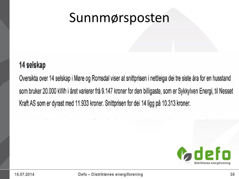 15.07.2014Defo – Distriktenes energiforening35 Sunnmørsposten