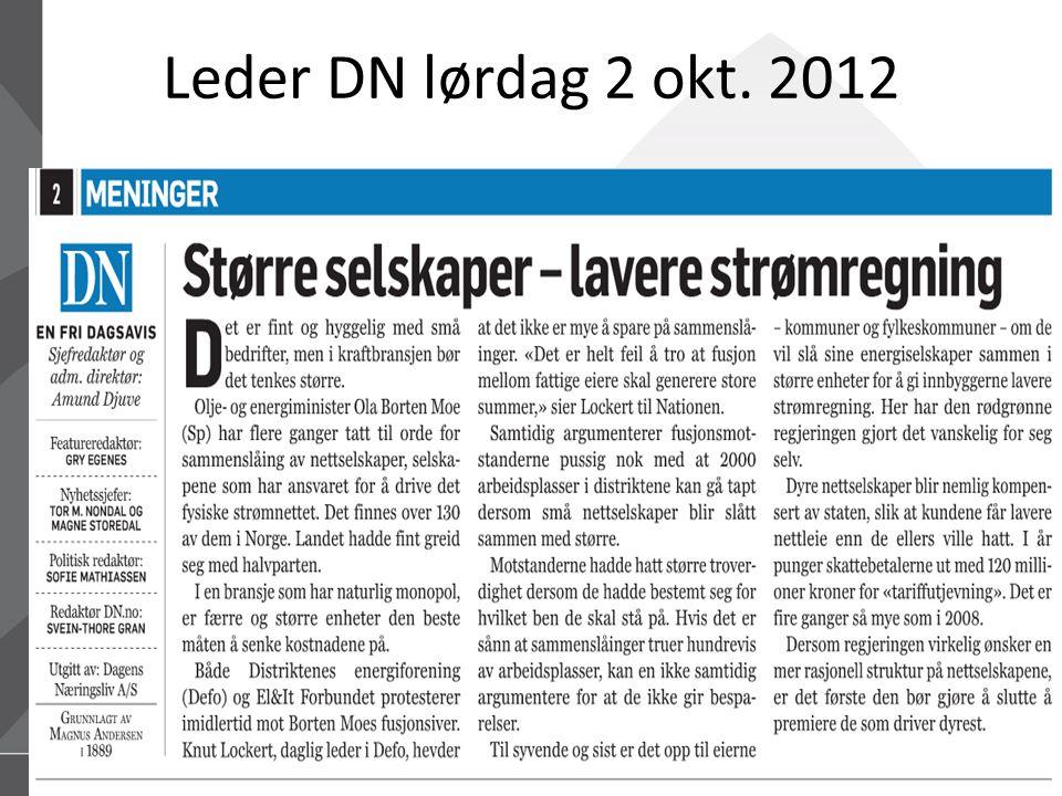 15.07.2014Defo – Distriktenes energiforening42 Leder DN lørdag 2 okt. 2012