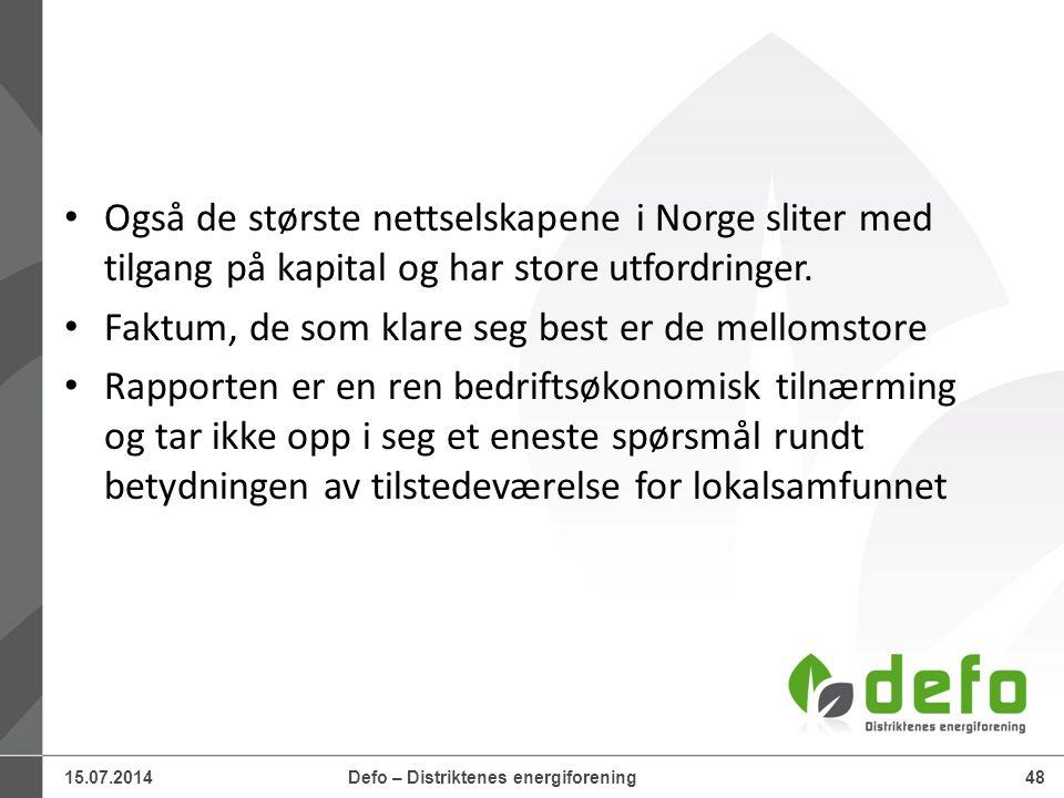 15.07.2014Defo – Distriktenes energiforening48 Også de største nettselskapene i Norge sliter med tilgang på kapital og har store utfordringer. Faktum,
