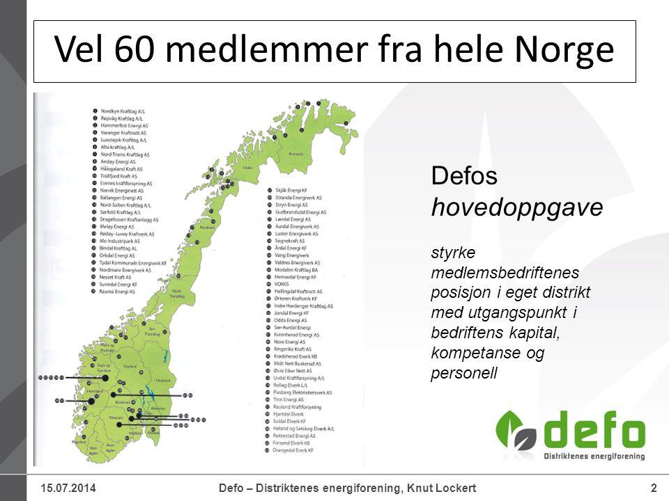 15.07.2014Defo – Distriktenes energiforening, Knut Lockert2 Vel 60 medlemmer fra hele Norge Defos hovedoppgave styrke medlemsbedriftenes posisjon i eget distrikt med utgangspunkt i bedriftens kapital, kompetanse og personell