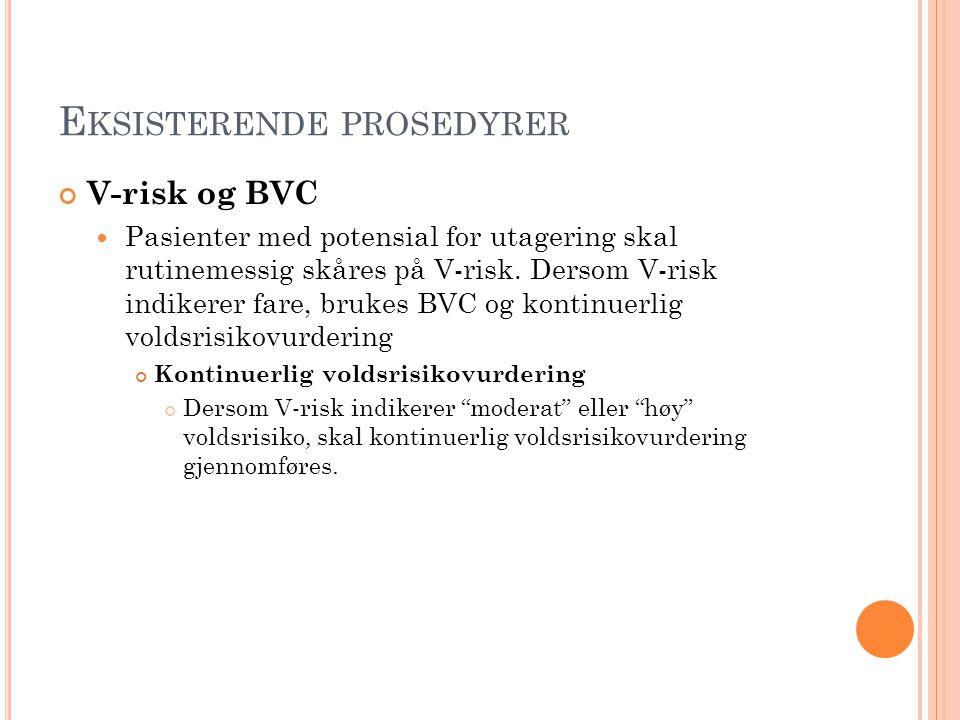 E KSISTERENDE PROSEDYRER V-risk og BVC Pasienter med potensial for utagering skal rutinemessig skåres på V-risk. Dersom V-risk indikerer fare, brukes