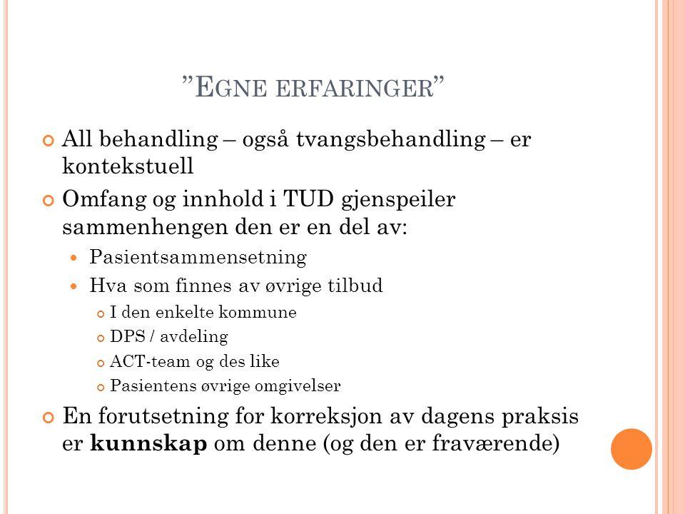 """""""E GNE ERFARINGER """" All behandling – også tvangsbehandling – er kontekstuell Omfang og innhold i TUD gjenspeiler sammenhengen den er en del av: Pasien"""