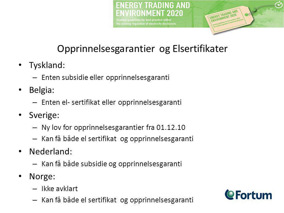 Opprinnelsesgarantier og Elsertifikater Tyskland: – Enten subsidie eller opprinnelsesgaranti Belgia: – Enten el- sertifikat eller opprinnelsesgaranti