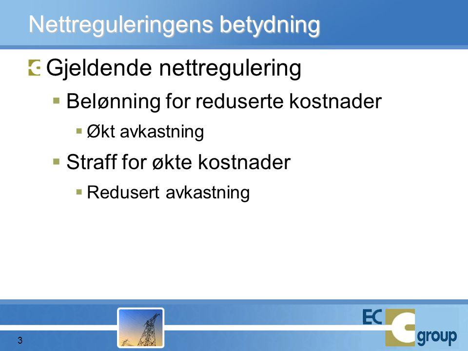 Nettreguleringens betydning Gjeldende nettregulering  Belønning for reduserte kostnader  Økt avkastning  Straff for økte kostnader  Redusert avkastning 3