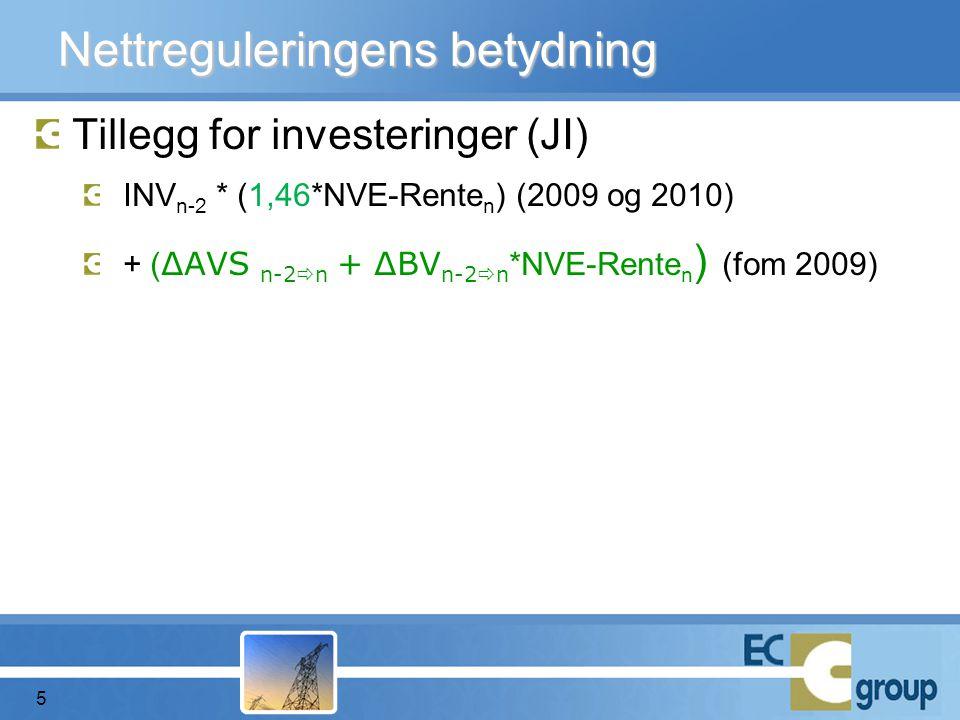 Tillegg for investeringer (JI) INV n-2 * (1,46*NVE-Rente n ) (2009 og 2010) + ( ΔAVS n-2  n + ΔBV n-2  n *NVE-Rente n ) (fom 2009) Nettreguleringens betydning 5