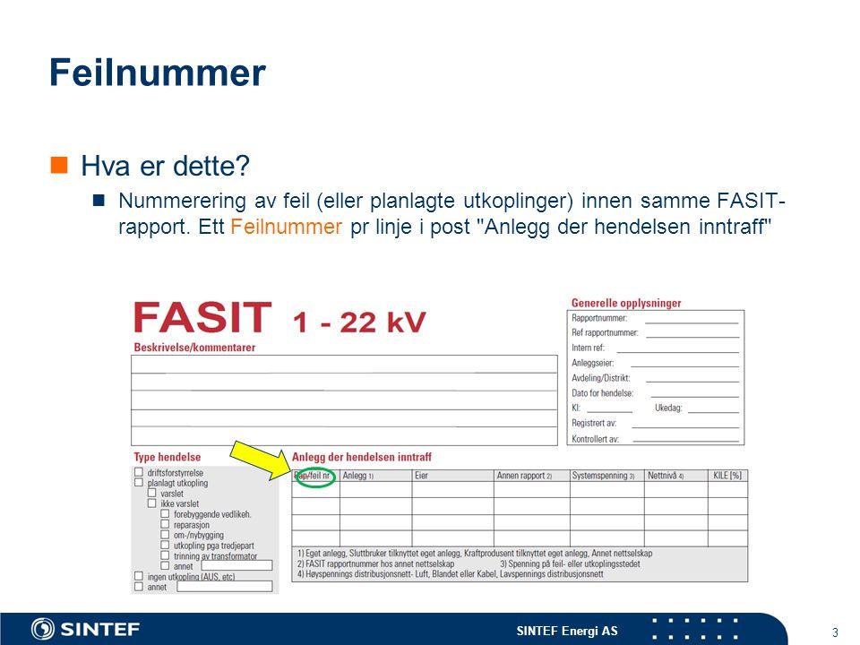 SINTEF Energi AS Feilnummer Hva er nytt i 2012.