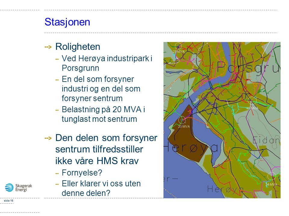 Stasjonen Roligheten Ved Herøya industripark i Porsgrunn En del som forsyner industri og en del som forsyner sentrum Belastning på 20 MVA i tunglast m