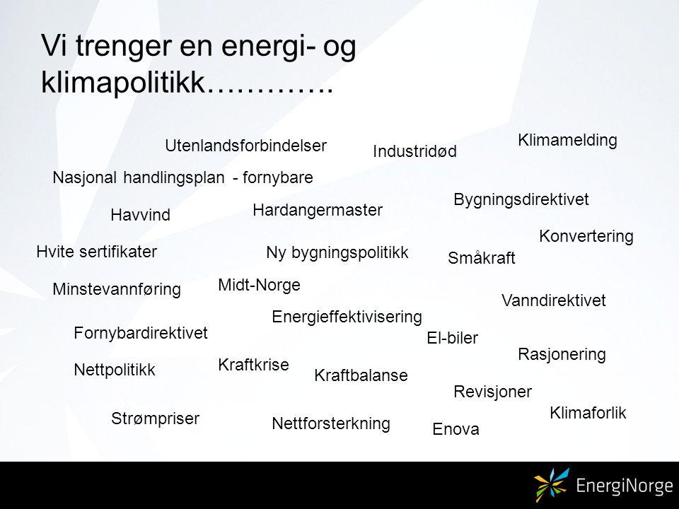 Vi trenger en energi- og klimapolitikk…………. Hardangermaster Midt-Norge Nettpolitikk Småkraft Nettforsterkning Utenlandsforbindelser Energieffektiviser