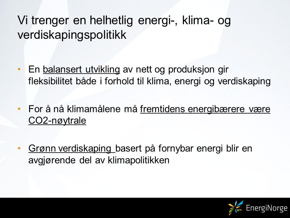Vi trenger en helhetlig energi-, klima- og verdiskapingspolitikk En balansert utvikling av nett og produksjon gir fleksibilitet både i forhold til klima, energi og verdiskaping For å nå klimamålene må fremtidens energibærere være CO2-nøytrale Grønn verdiskaping basert på fornybar energi blir en avgjørende del av klimapolitikken
