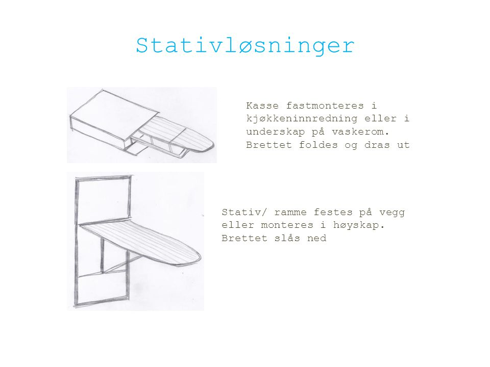 Stativløsninger Kasse fastmonteres i kjøkkeninnredning eller i underskap på vaskerom. Brettet foldes og dras ut Stativ/ ramme festes på vegg eller mon