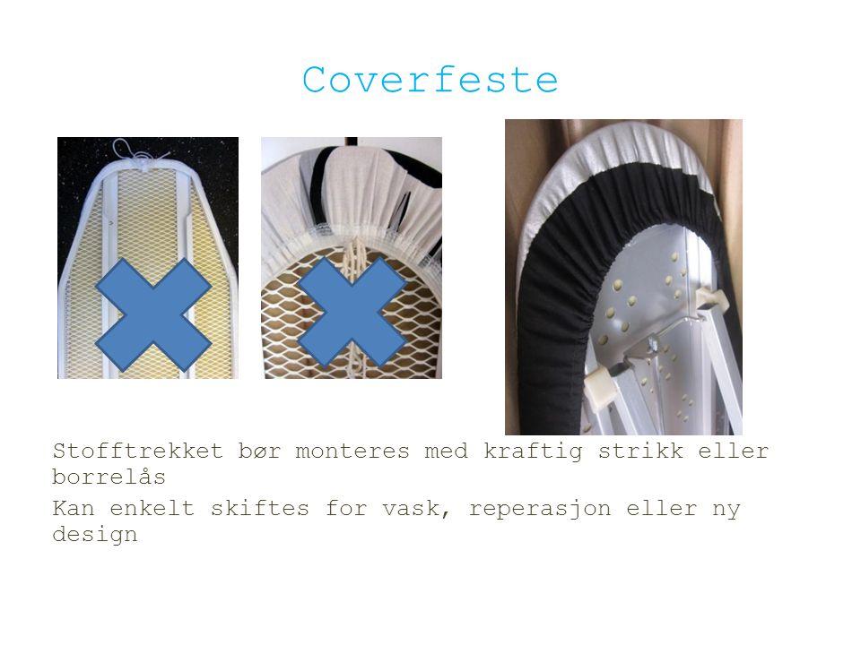 Coverfeste Stofftrekket bør monteres med kraftig strikk eller borrelås Kan enkelt skiftes for vask, reperasjon eller ny design