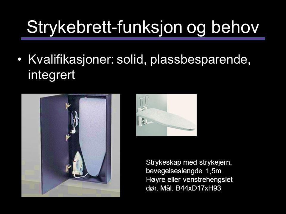 Strykebrett-funksjon og behov Kvalifikasjoner: solid, plassbesparende, integrert Strykeskap med strykejern. bevegelseslengde 1,5m. Høyre eller venstre