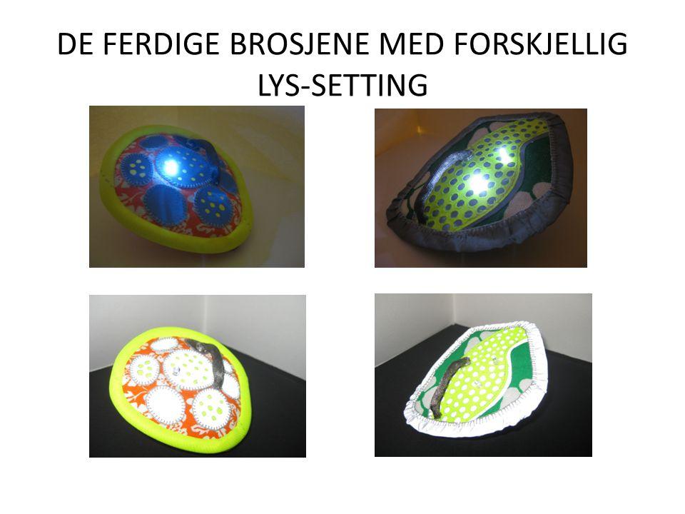 DE FERDIGE BROSJENE MED FORSKJELLIG LYS-SETTING