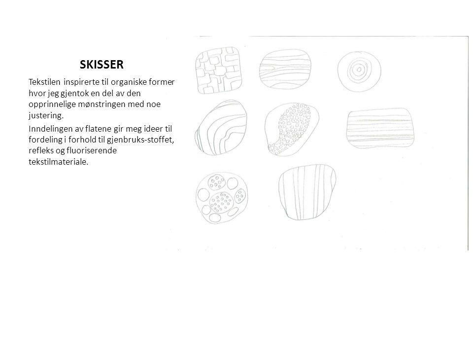 SKISSER Tekstilen inspirerte til organiske former hvor jeg gjentok en del av den opprinnelige mønstringen med noe justering. Inndelingen av flatene gi