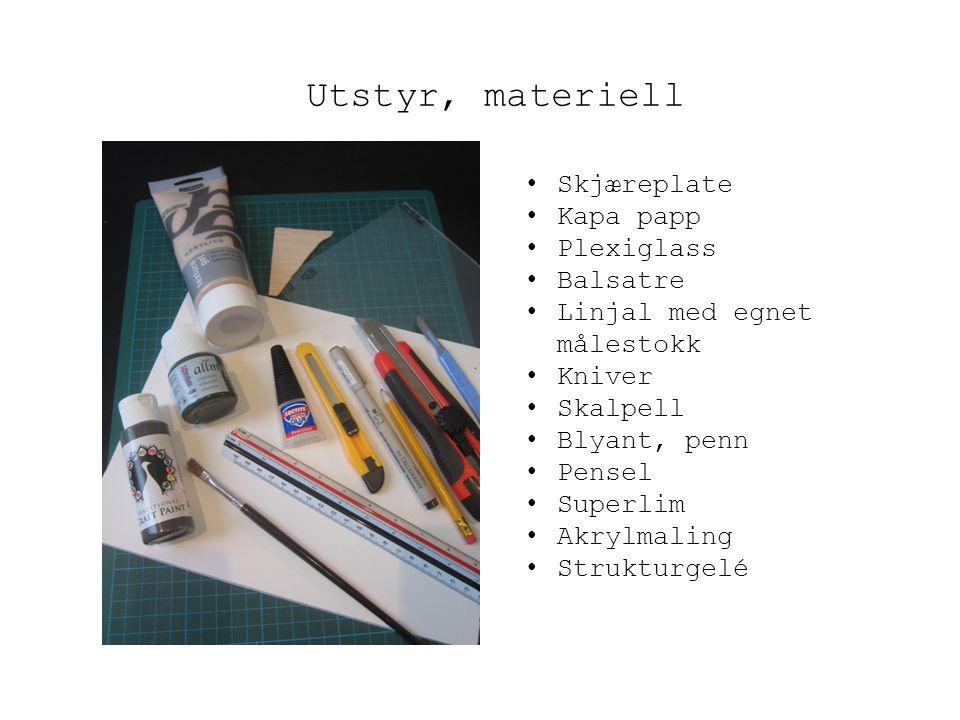 Utstyr, materiell Skjæreplate Kapa papp Plexiglass Balsatre Linjal med egnet målestokk Kniver Skalpell Blyant, penn Pensel Superlim Akrylmaling Strukt
