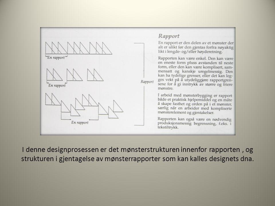 I denne designprosessen er det mønsterstrukturen innenfor rapporten, og strukturen i gjentagelse av mønsterrapporter som kan kalles designets dna.