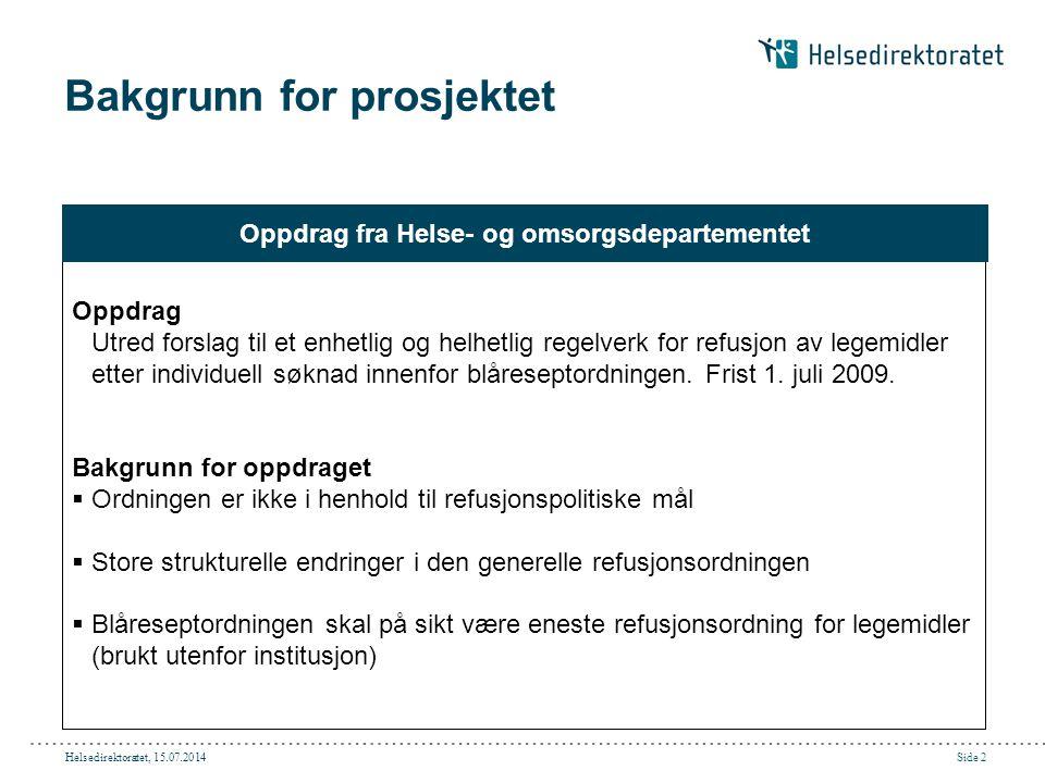 Helsedirektoratet, 15.07.2014Side 2 Bakgrunn for prosjektet Oppdrag Utred forslag til et enhetlig og helhetlig regelverk for refusjon av legemidler et