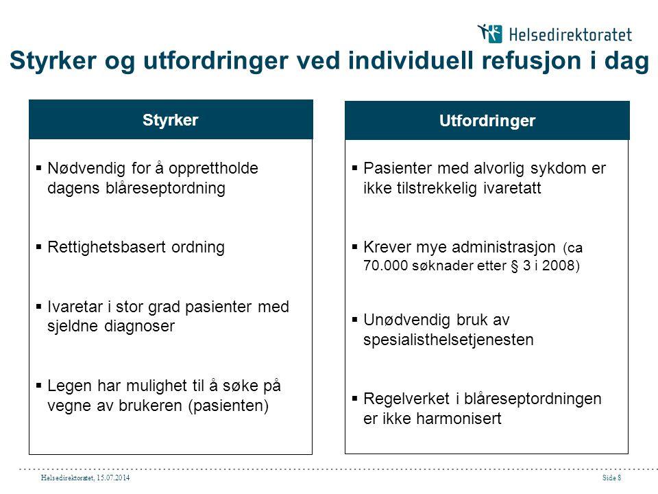 Helsedirektoratet, 15.07.2014Side 8 Styrker og utfordringer ved individuell refusjon i dag  Nødvendig for å opprettholde dagens blåreseptordning  Re