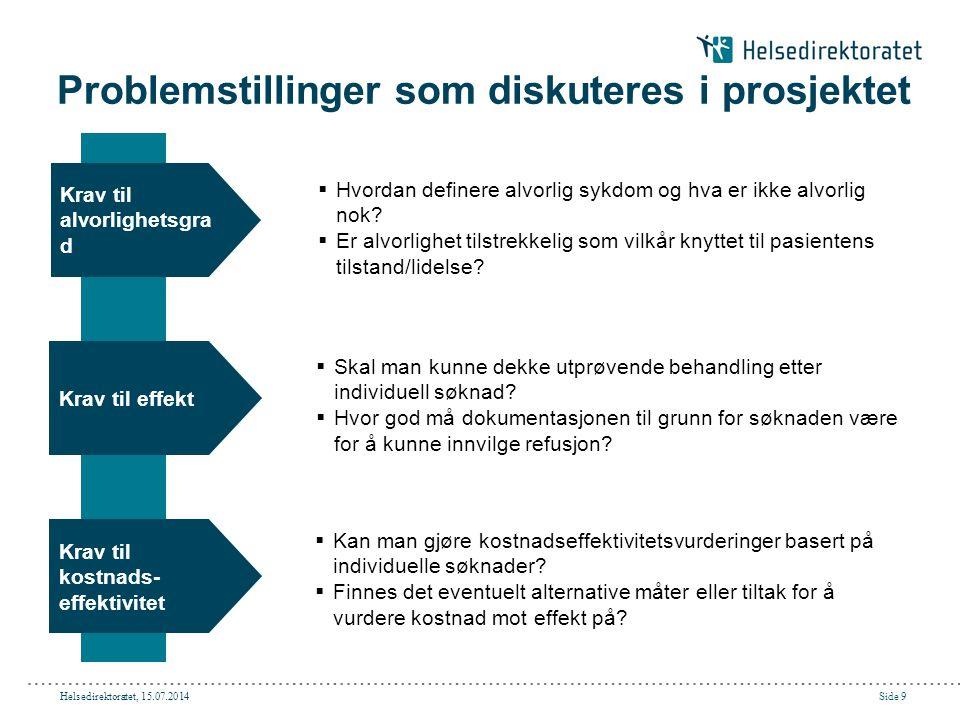 Helsedirektoratet, 15.07.2014Side 9 Problemstillinger som diskuteres i prosjektet Krav til kostnads- effektivitet Krav til alvorlighetsgra d  Hvordan